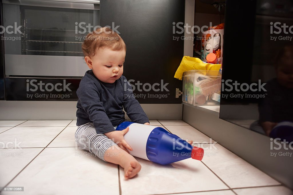 Baby Bleach Kitchen Danger stock photo