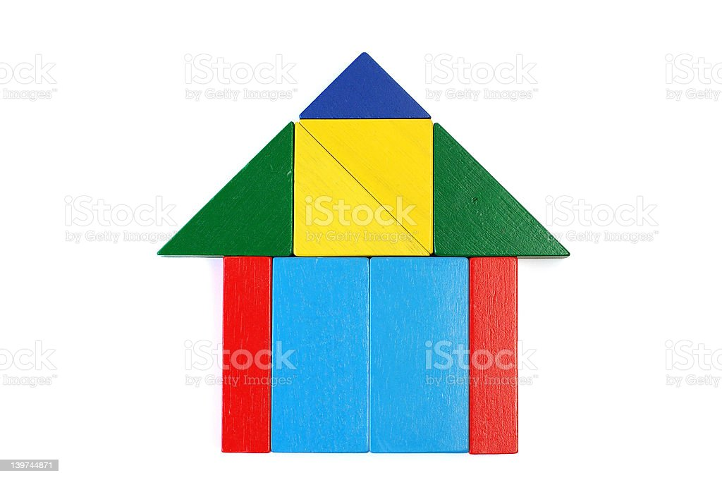 Baby blocks figure - house royalty-free stock photo