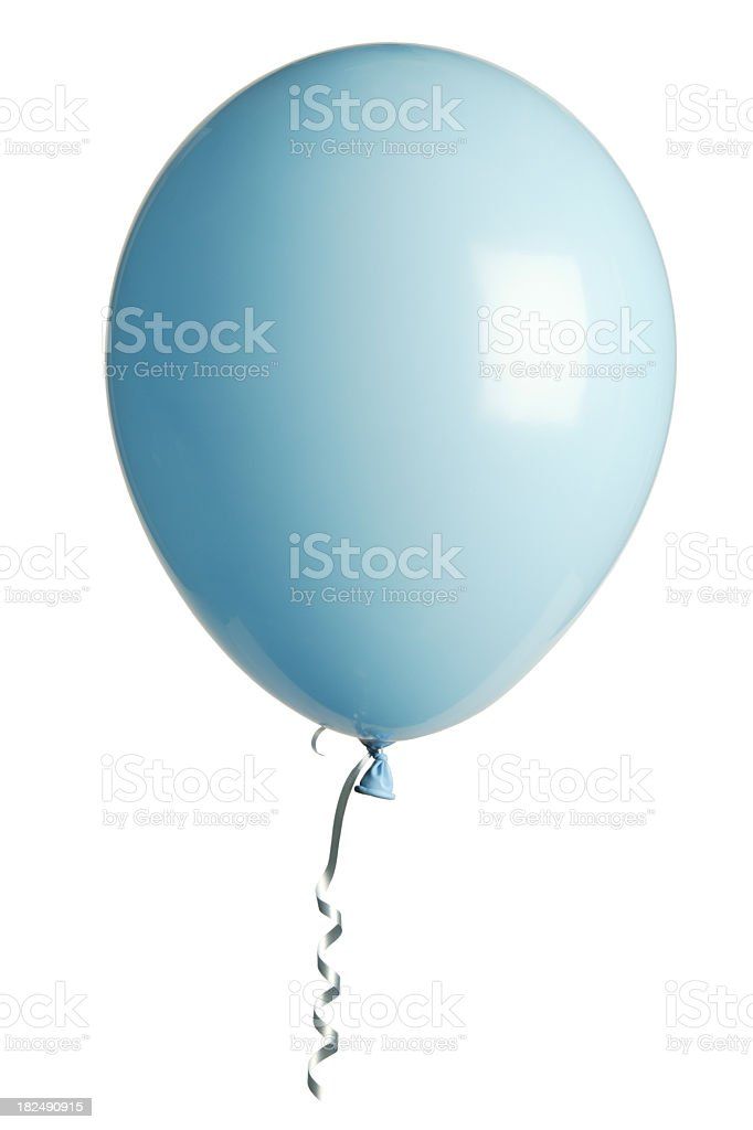 A baby blue party balloon floating on a white background stock photo