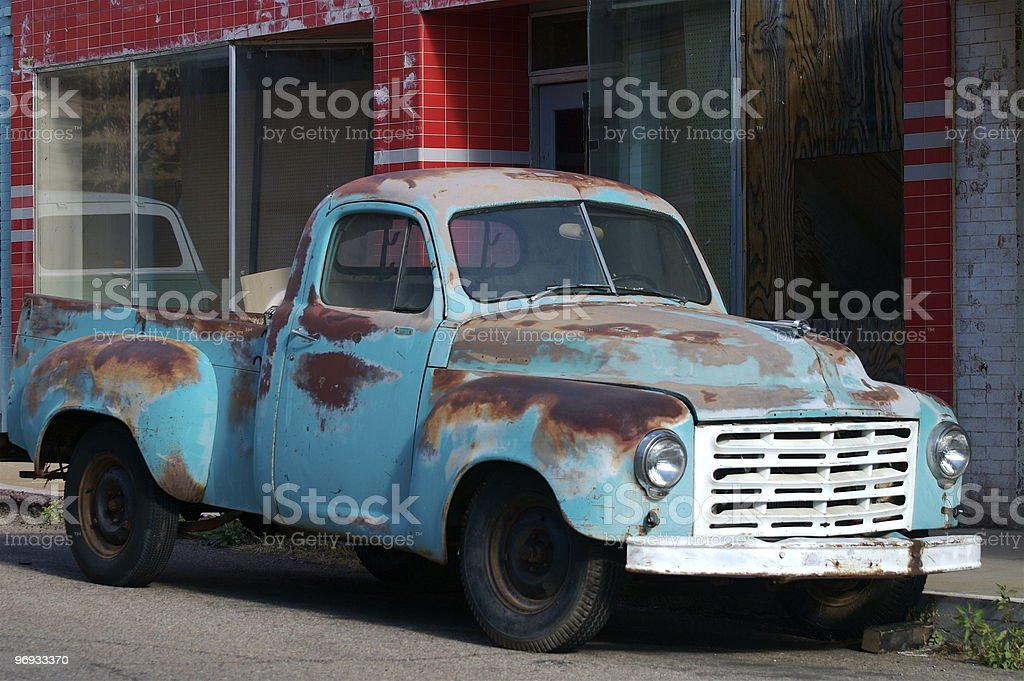 Baby blue truck with bodywork royalty-free stock photo
