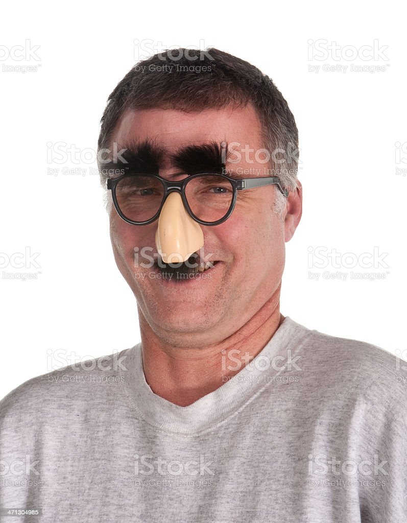 baby boomer portrait wearing disguise stock photo