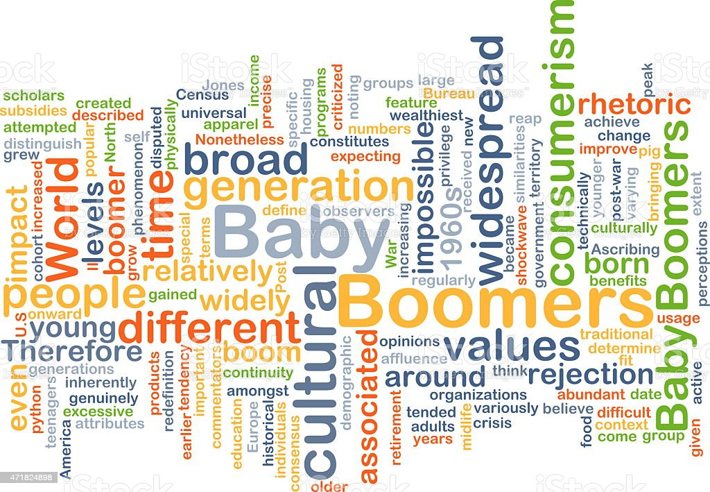 Baby boomers wordcloud concept illustration stock photo