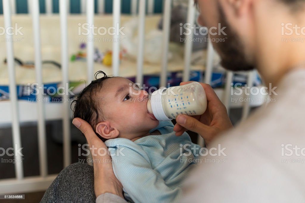 Baby bottle time stock photo