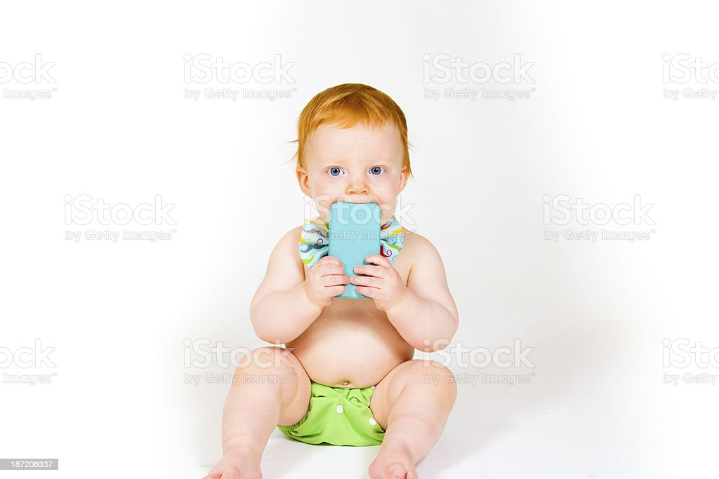 Baby Boy and Cell Phone royalty-free stock photo
