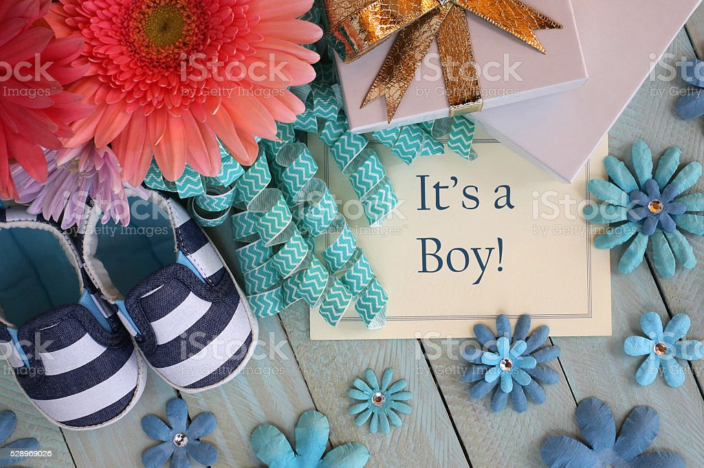 Baby Boy Announcement stock photo