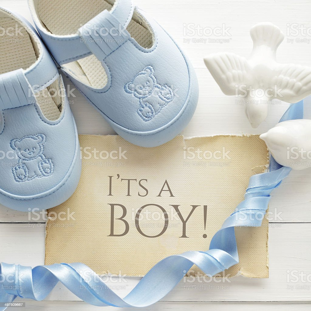 baby boy birthday greeting card stock photo