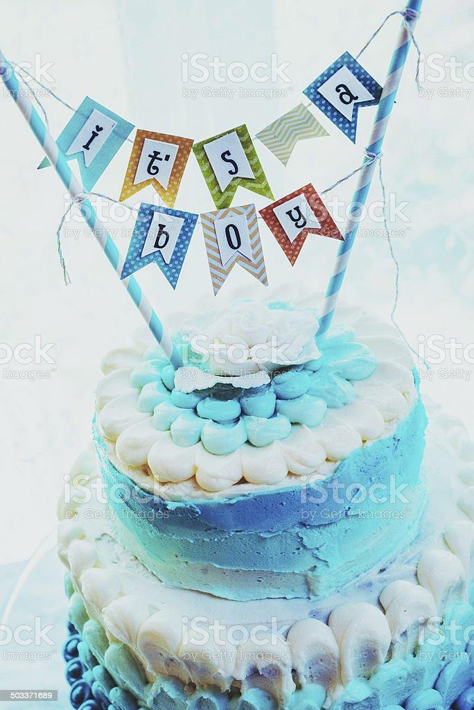 Baby Boy Cake stock photo