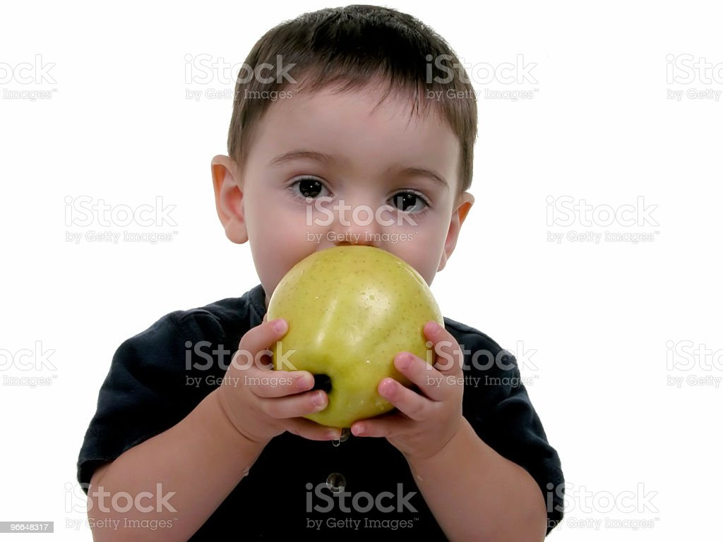 Baby Boy Eating Apple (1 of 3) royalty-free stock photo