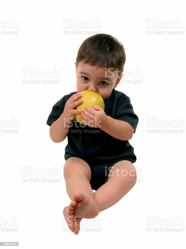 Baby Boy Eating Apple royalty-free stock photo