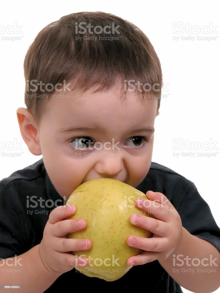 Baby  Boy Eating Apple royalty-free stock photo