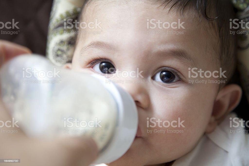 Baby Boy Eating stock photo
