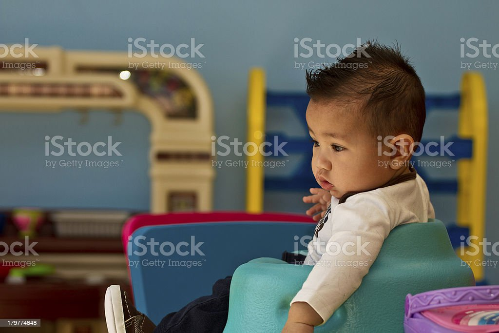 Baby boy first haircut royalty-free stock photo