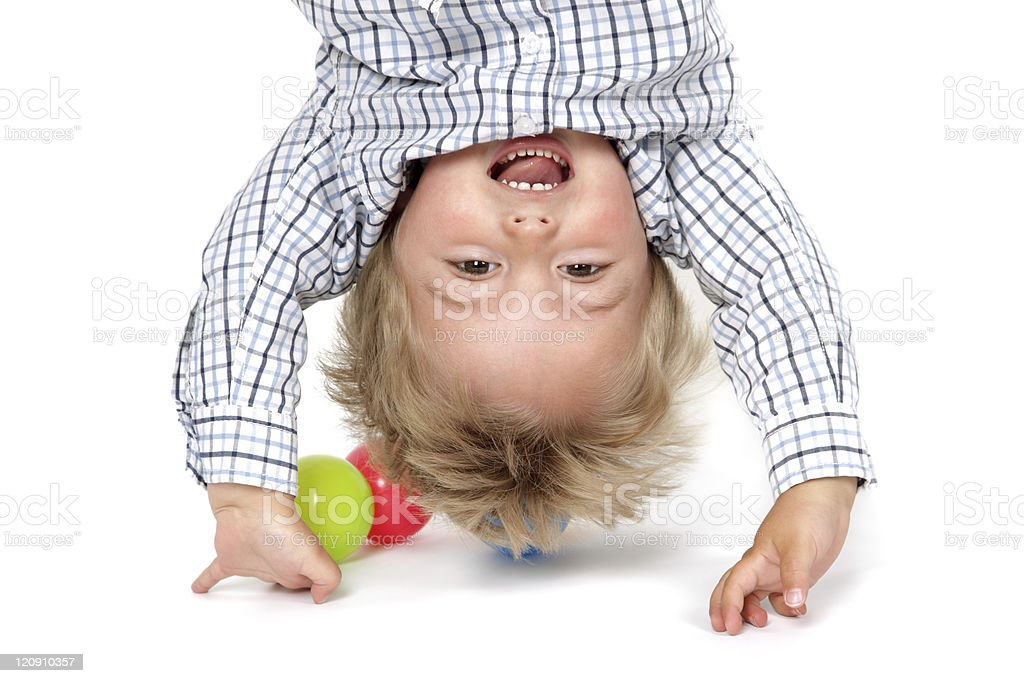 Baby boy handstand royalty-free stock photo