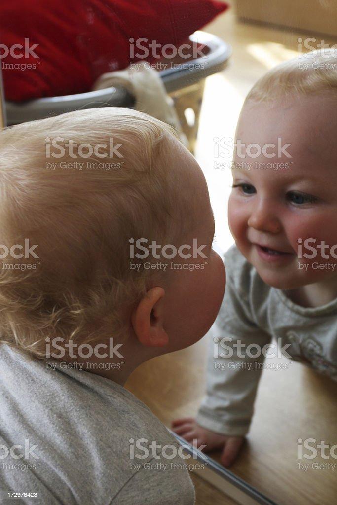 baby boy in mirror royalty-free stock photo