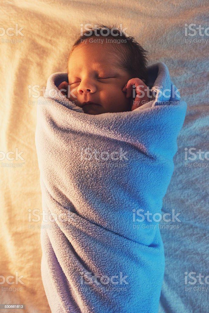 Baby Boy in Warm Blanket stock photo