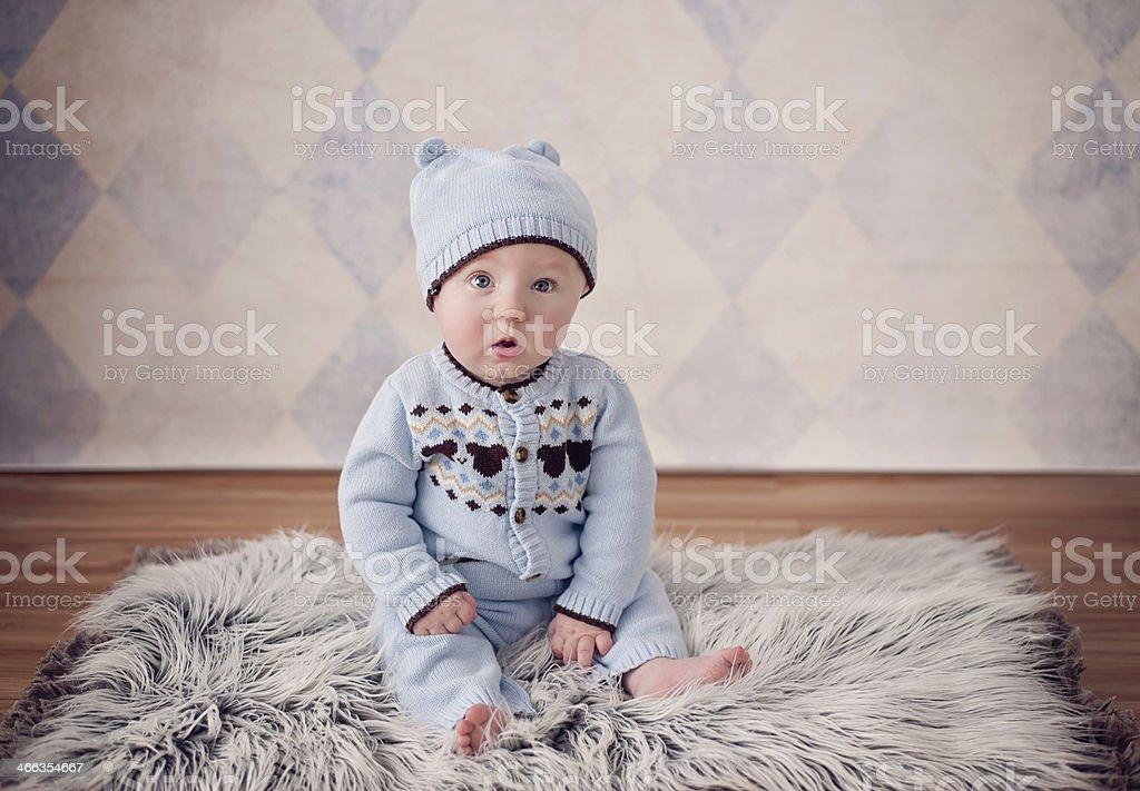 Baby Boy on Fur Rug royalty-free stock photo