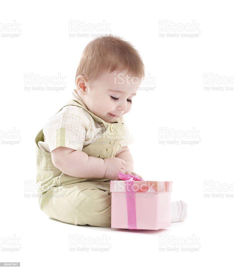 Baby boy open small pink gift box stock photo