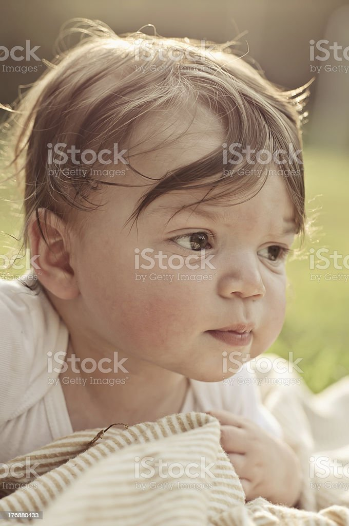 Baby Boy Outdoors stock photo