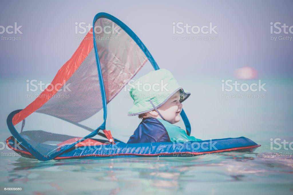 Baby Boy Playing in Wayer on Tropical Beach, Cuba stock photo