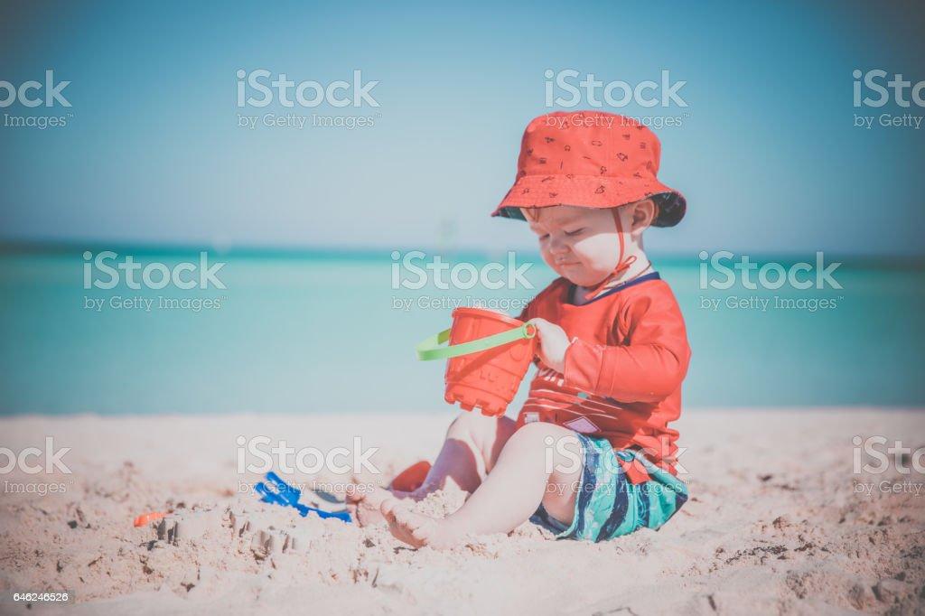 Baby Boy Playing on Tropical Beach, Cayo Coco, Cuba stock photo