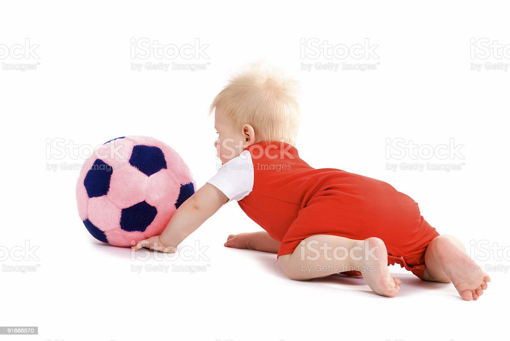 Baby boy playing soccer royalty-free stock photo