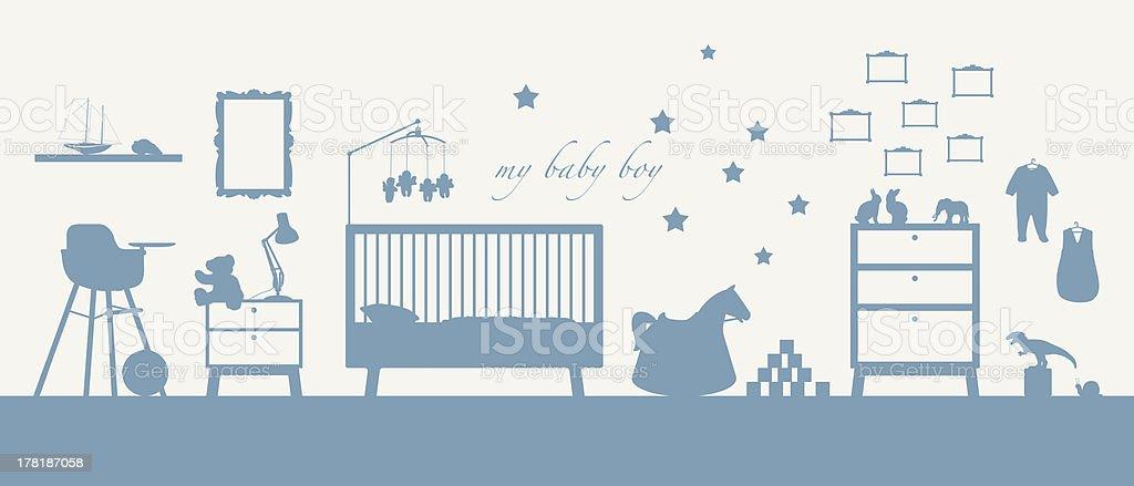 baby boy room interior blue silhouette stock photo