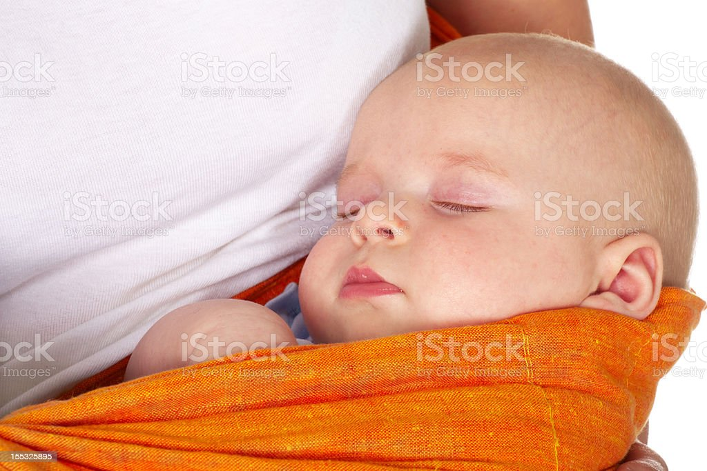 baby boy sleeping in mother arms royalty-free stock photo