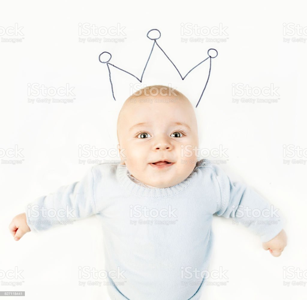 Baby boy with crown stock photo