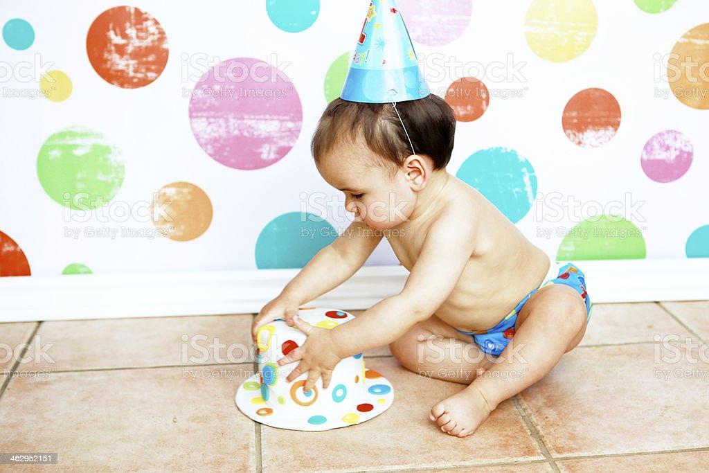 Baby Boy with First Birthday Cake stock photo