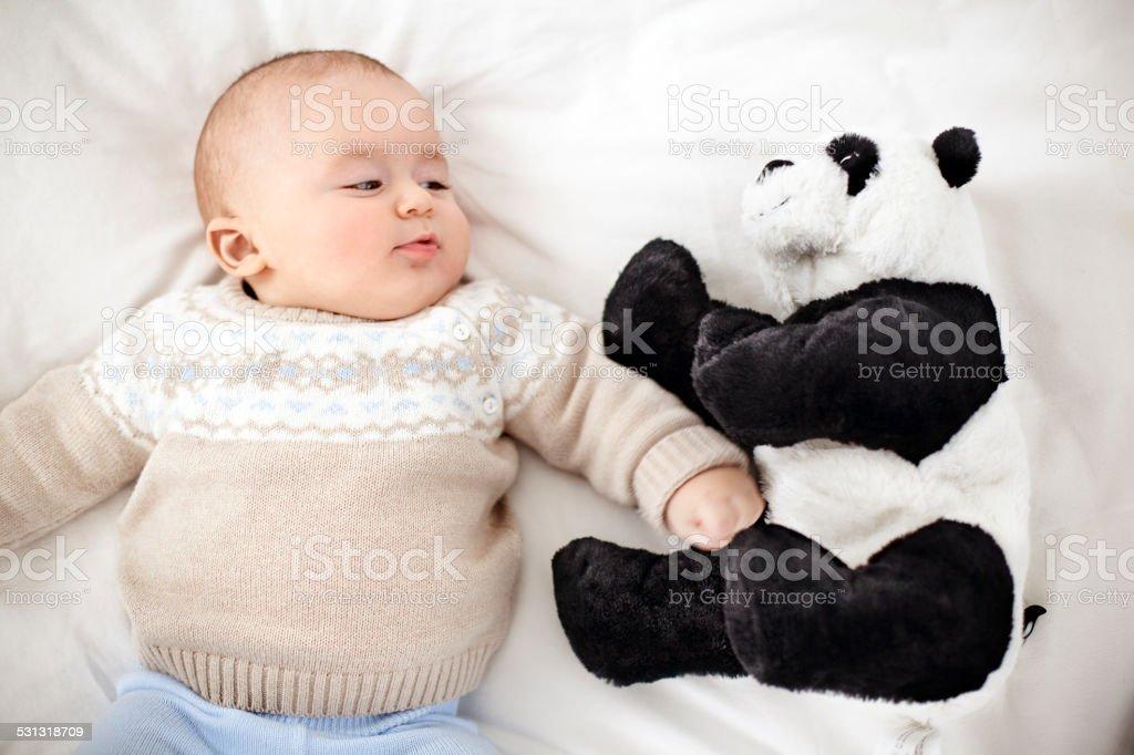 Baby boy with Panda Bear stock photo