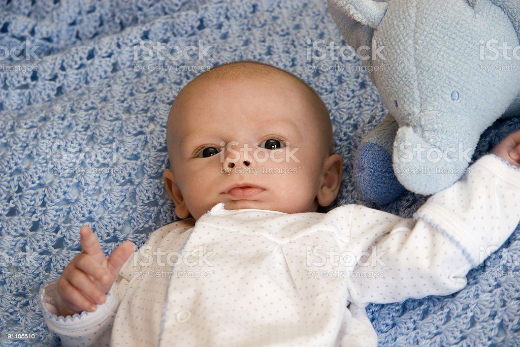 Baby Boy with Stuffed Animal royalty-free stock photo