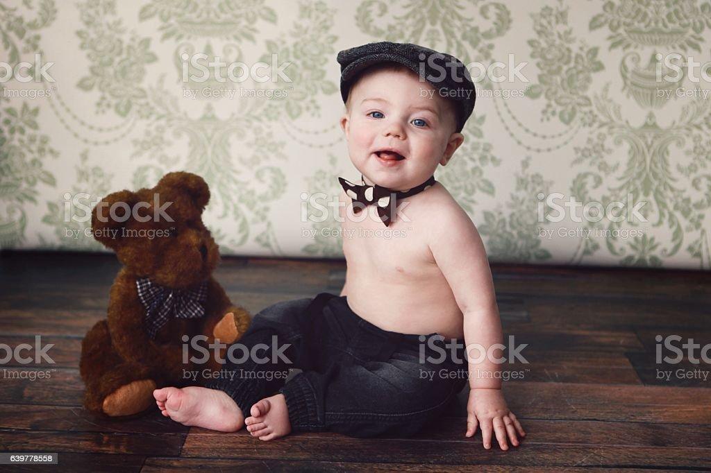 Baby Boy with Teddy Bear stock photo