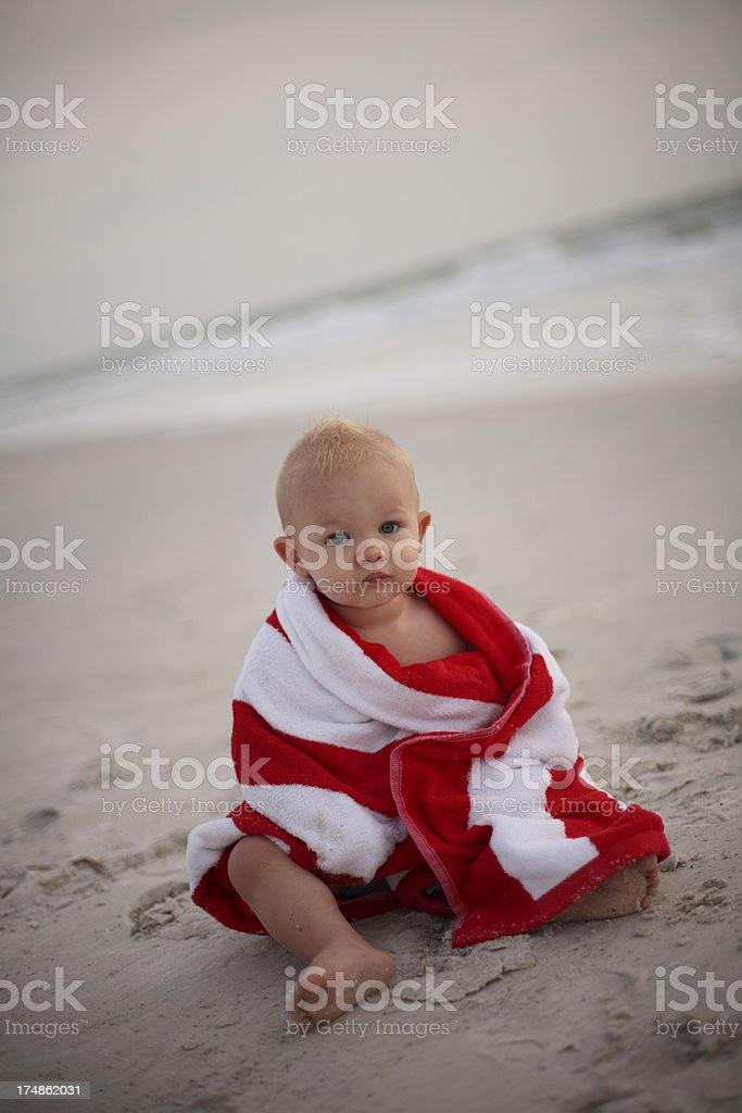 Baby Boy Wrapped in Towel royalty-free stock photo