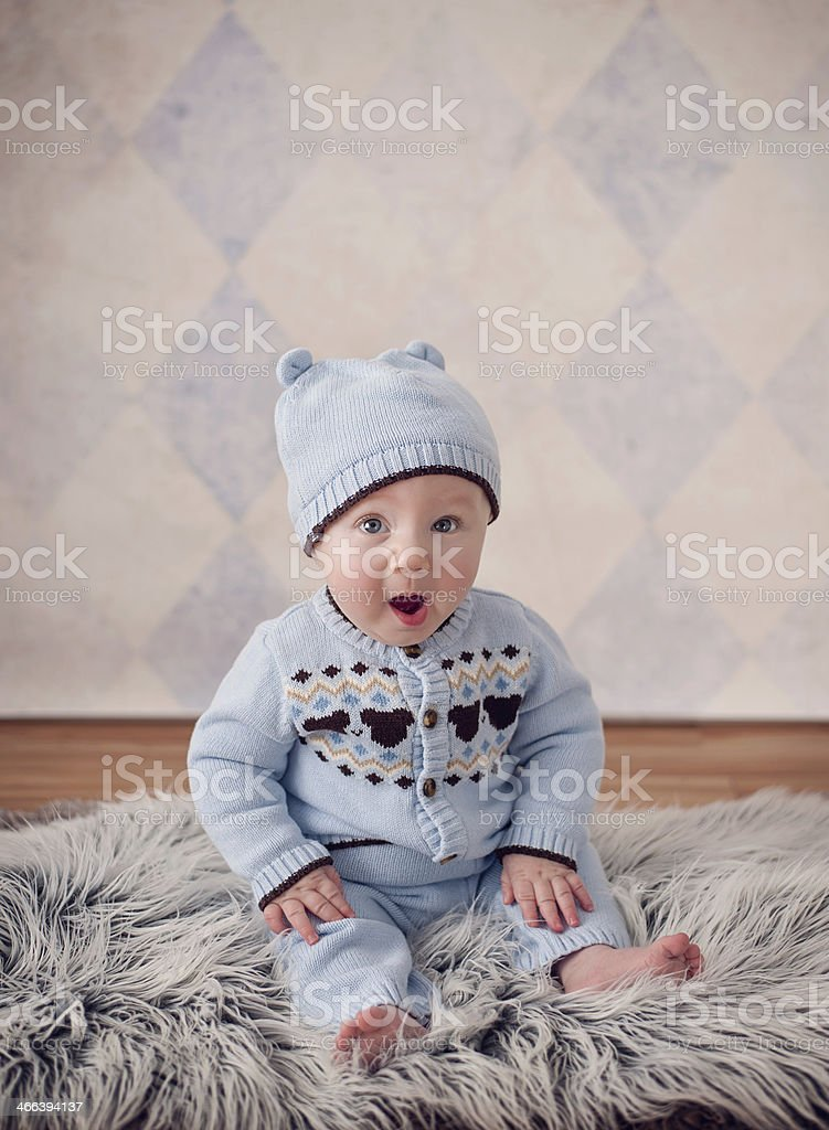 Baby Boy Yawning Surprise royalty-free stock photo