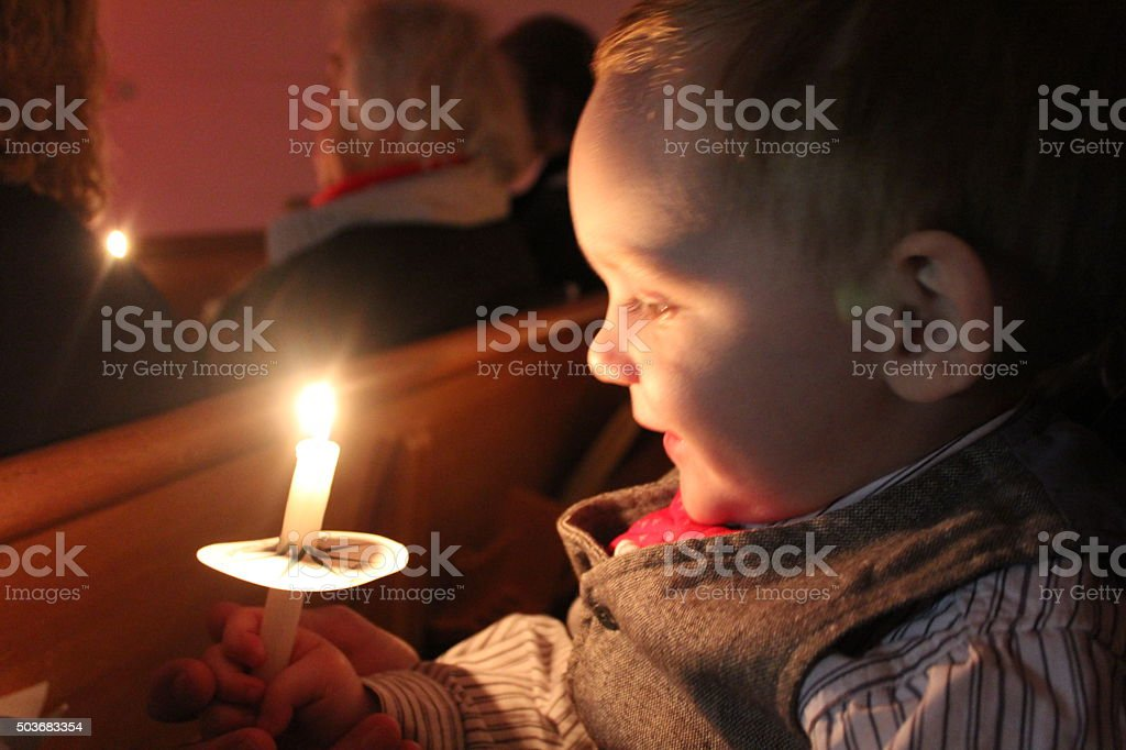 Baby by Candlelight stock photo