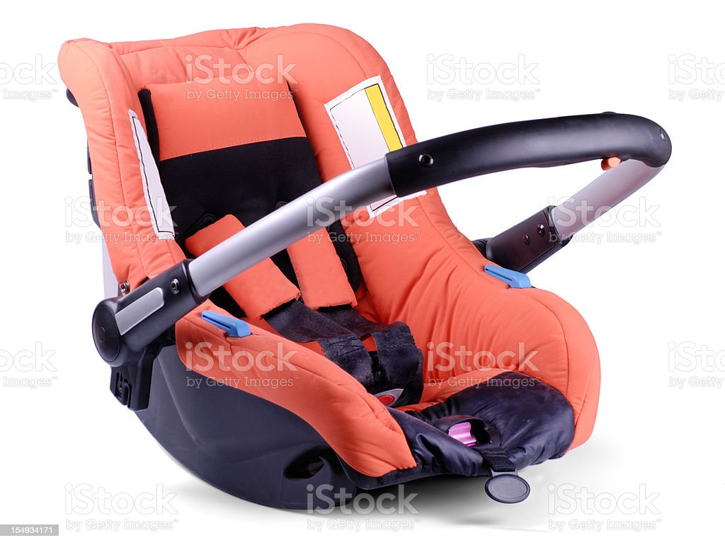 Baby car and travel seat on white background stock photo