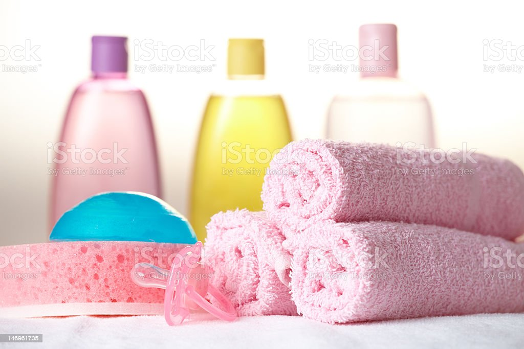 Baby care objects stock photo