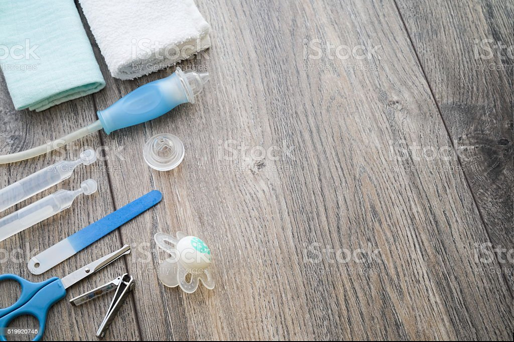 Baby care products nose cleaning cloths scissors pacifier nail f stock photo
