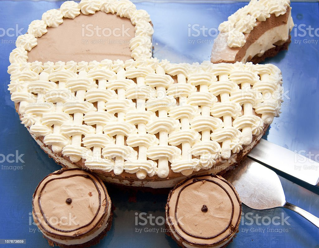 baby carriage as cake stock photo