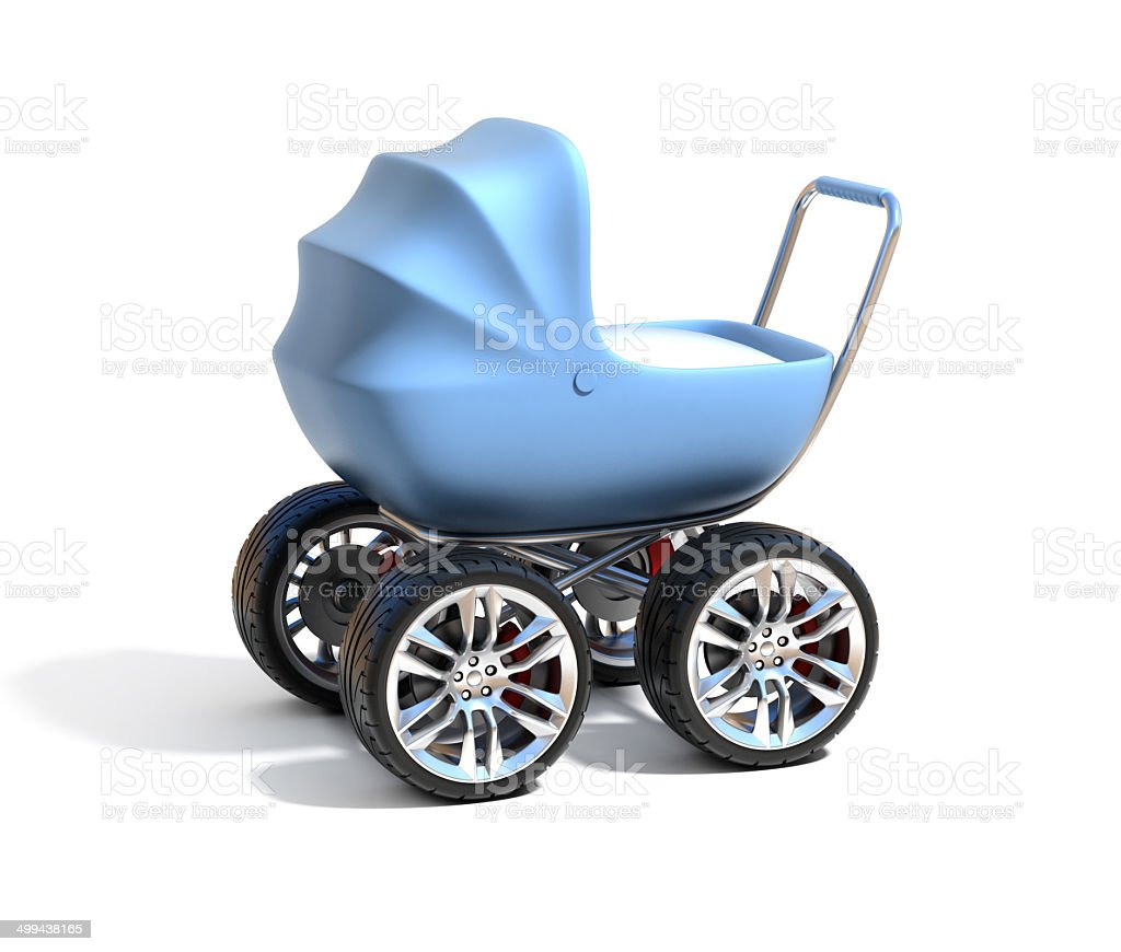 baby carriage with sport car wheels stock photo