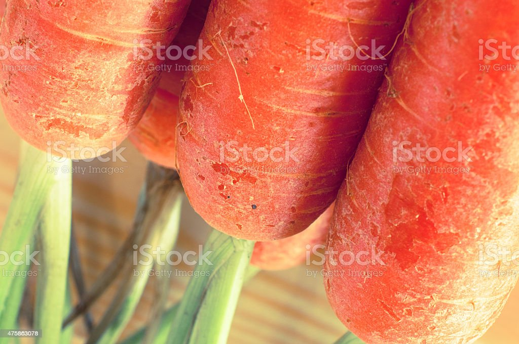 Baby carrot close up vintage filter applied stock photo