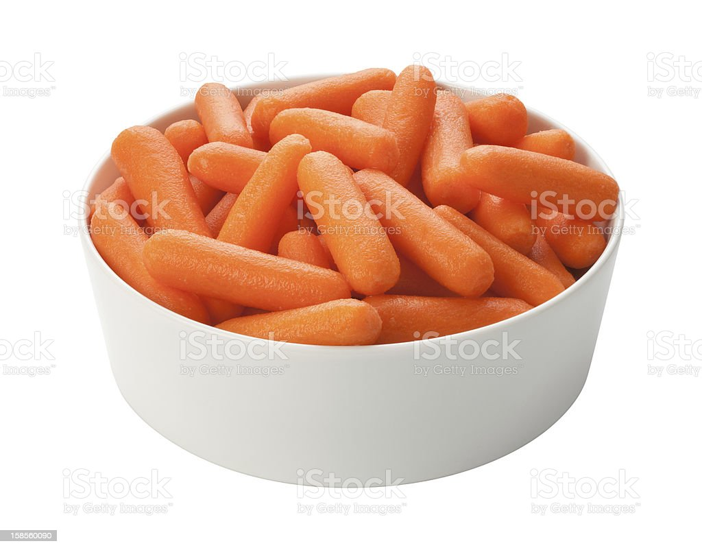 Baby Carrots Isolated with clipping path stock photo