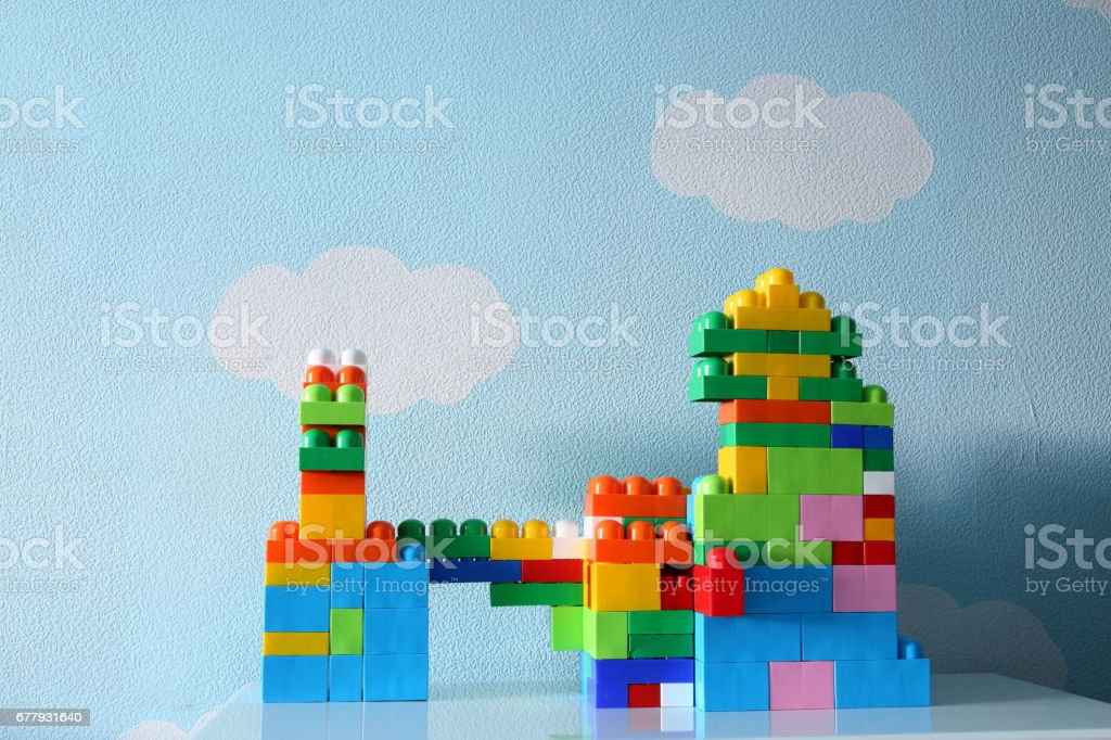 Baby castle built from the constructor stock photo