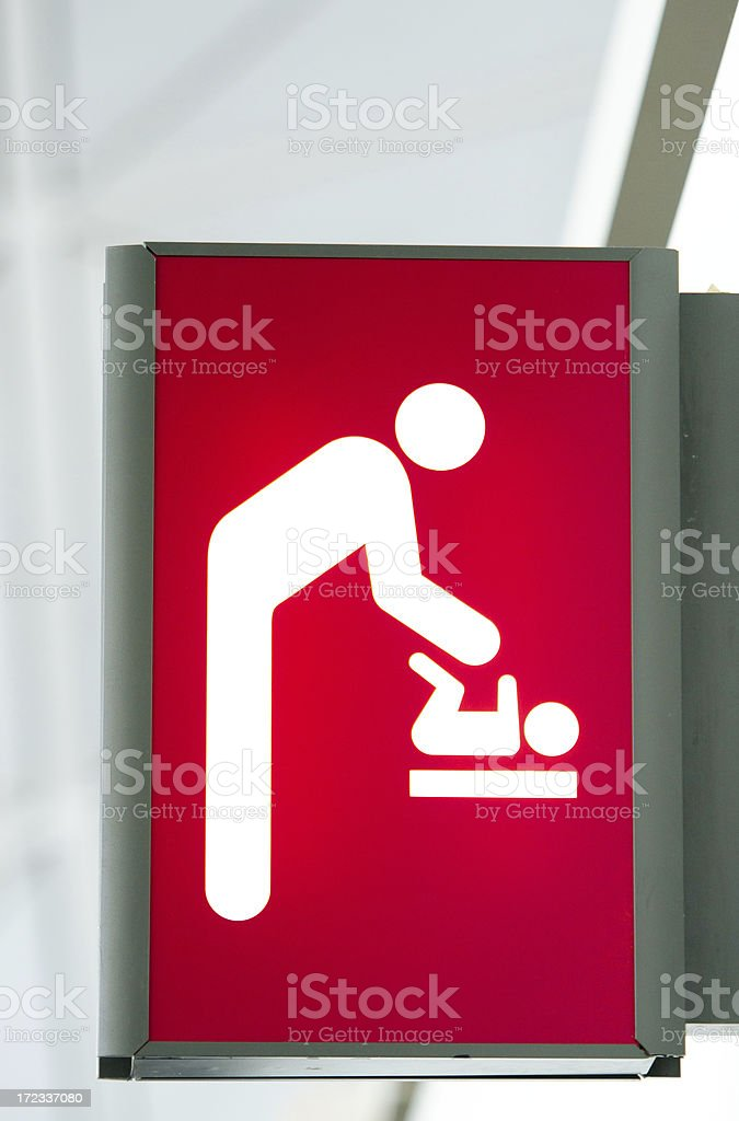 Baby Change Room Sign - Airport stock photo