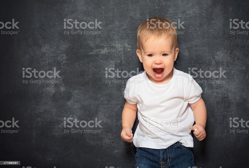 baby child and empty Blackboard royalty-free stock photo