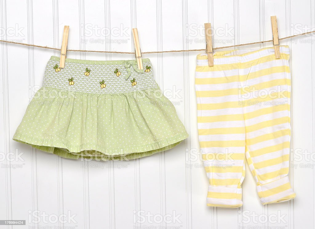 Baby Child Clothing on a Clothesline. stock photo