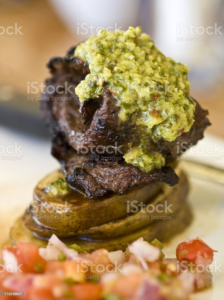 Baby churrasco with chimichurri royalty-free stock photo