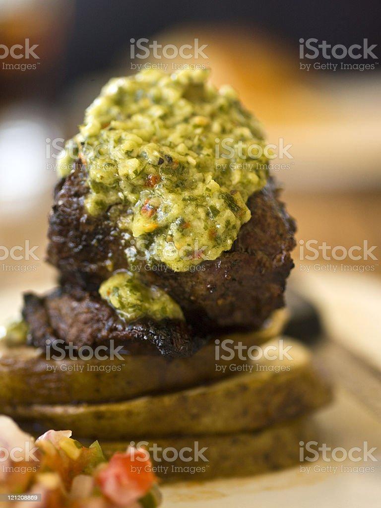 Baby churrasco with chimichurri stock photo