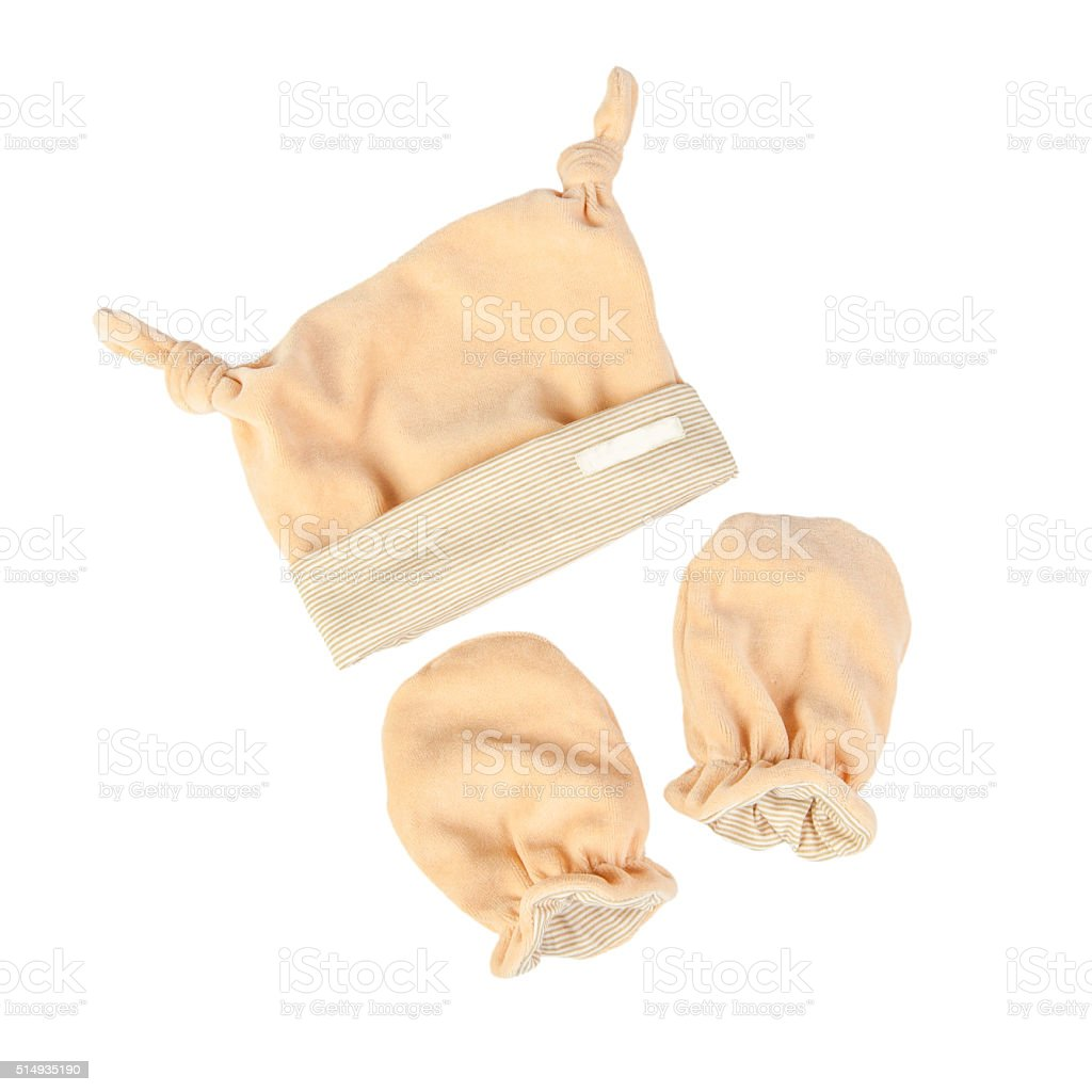 baby clothes (Hat and mittens) stock photo