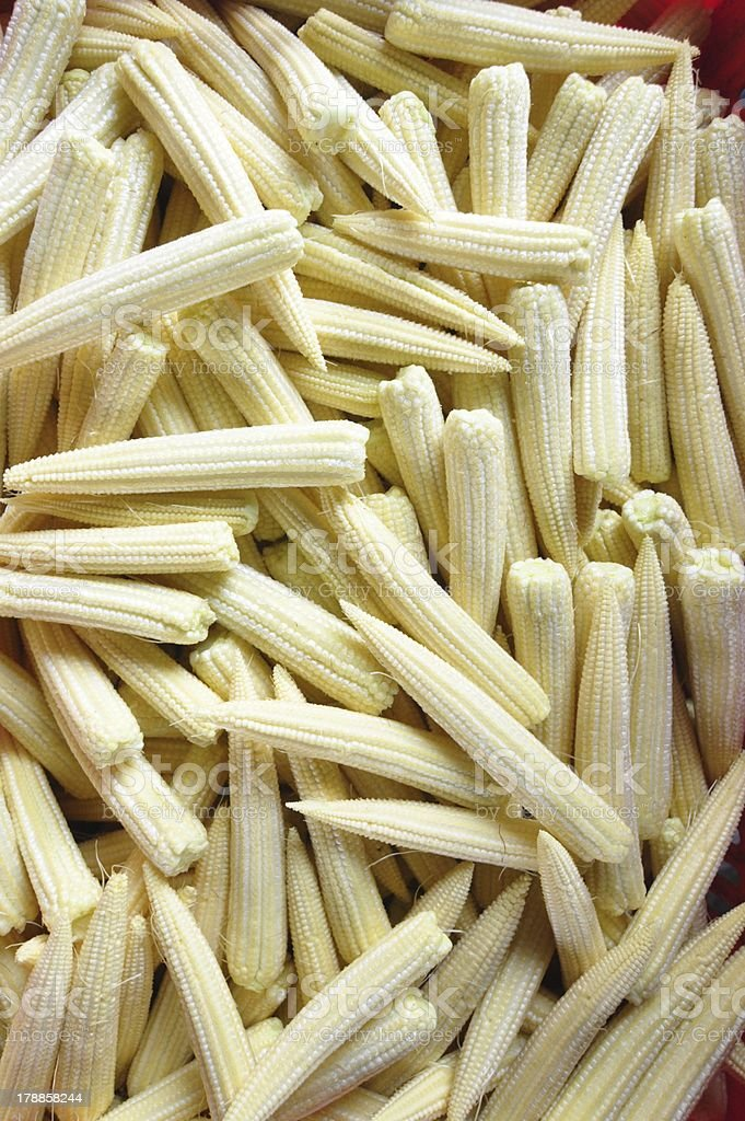 Baby corn cobs arranged as a background royalty-free stock photo